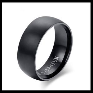 Titanium Matte 8mm Wide basic Black Band Ring 8-11